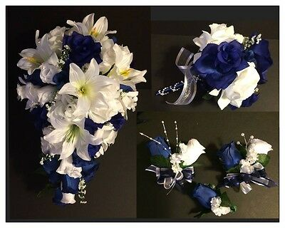 Bridal Bouquet Package Silk Flowers Navy Blue Tiger Lily 23 Piece