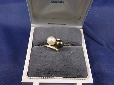 14K White Gold Tahitian Black & White Pearl Ring 6MM Each SIZE 5 - SIGNED?