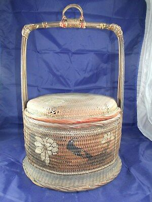 Antique Chinese Wedding Food Hanging Basket Bamboo & Wicker Handpainted Birds