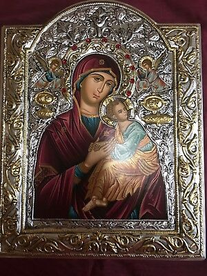 ORTHODOX ICON BYZANTINE HAND MADE SERIGRAPHY 925 silver 22 k gold plate 32X25 CM