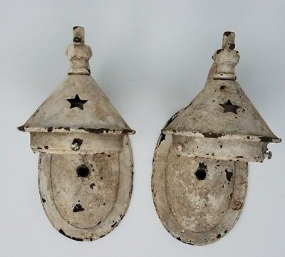 Antique Arts Crafts Wall Lamp Sconce Fixture Cast Iron Cut-out Star Pattern Pair
