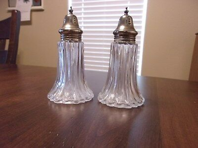 Vintage Large Salt & Pepper Cut Glass Shakers & Original Tops Made In Hong Kong