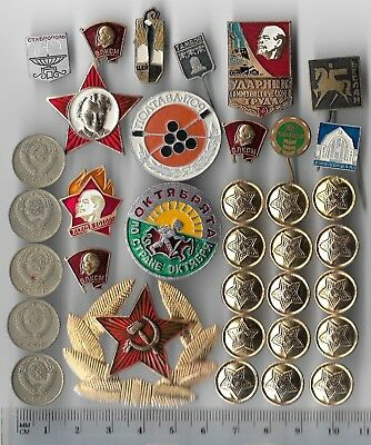 35 Rare Old CCCP Russia LENIN Civil Pin COLD WAR Coin Vintage Russian Collection