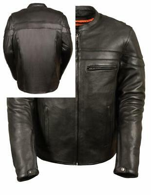 Leather King Men's Sporty Scooter Crossover Jacket (Black, Large)