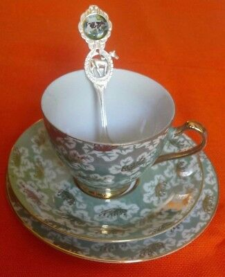 vintage 50s fine china tea cup trio set lustreware iridescent 53046 Japan