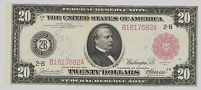 """Nice Looking Rare 1914 $20 """"red Seal"""" Large """"ny"""" Dist. Fr#953  Vf/vf+ No Reserve"""