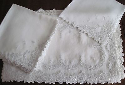 17 Exquisite Appenzell Linen Placemats Napkins & Runner 8 Each Hand Embroidery