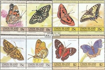 St. Vincent-Union Iceland 94-101 Couples mint never hinged mnh 1985 Butterflies