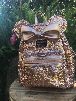 Rose Gold NWT Mini Backpack Disney Parks Disneyland  Loungefly Sold Out