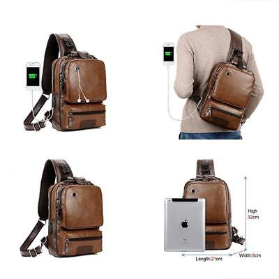 98a36e1a30 Men Vintage Leather Cross Body Sling Backpack Large Capacity Casual Office  With