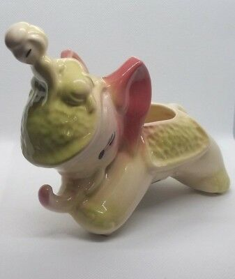"Vintage Asian Elephant with Rider Baby Nursery Planter 5"" x 7"" 1940's Pink Green"