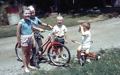 """Lot of 12 Vintage KIDS & BIKES (and Trikes) 35mm 2"""" x 2"""" Photo Slides 1950s-70s"""