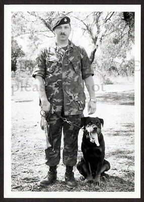C. 1965 Photo US Air Force Dog Handler posing with Rottweiler Dog