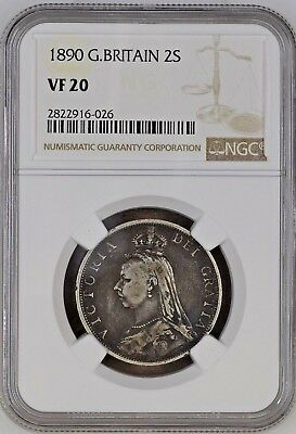 1890 Great Britain Florin (Two Shillings) Silver Coin NGC VF 20 POP 1