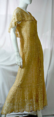 Antique 1900s 1910s Dress Peignoir Tambour lace Silk Chiffon lining