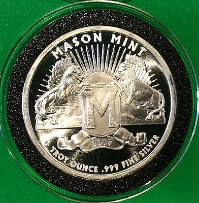 Mason Mint Lions Unique Rare Coin 1 Troy Oz .999 Fine Silver Collectible Round