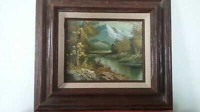Spring Landscape Oil Painting CANVAS MOUNTAINS trees river Signed Vintage art