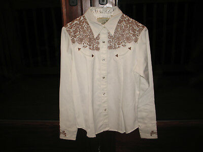 New Roper Embroidered Western Cowgirl Rodeo Horse Show Shirt Pearl Snap Ladies S