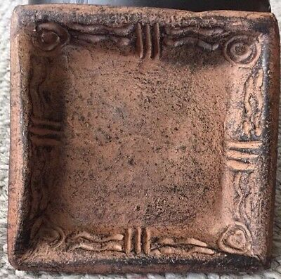 "Unique Ceramics Hand Crafted In Ghana Black Wash Brown 4"" Square Dish Tray"