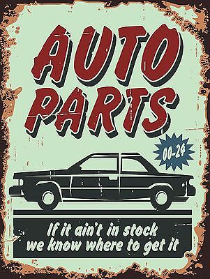 Auto Parts, Retro metal Aluminium Sign Vintage Garage shed Man Cave wall