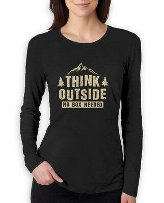0250cca6198 Camper Gift Think Outside No Box Needed Funny Camping Women Long Sleeve  T-Shirt