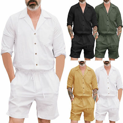 bcf1ebbb46b Men s One Piece Rompers Short Sleeve Street Casual Cargo Pants Jumpsuit  Overalls