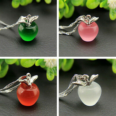 Fashion Womens 925 Silver Apple Pendant Necklace Choker Chain Jewelry Gift Hot