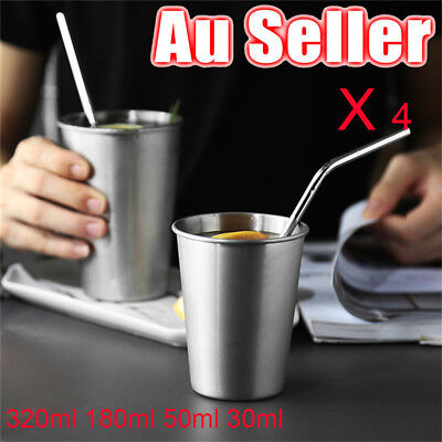 AU 4pcs Stainless Steel Cup Mug Drinking Coffee Beer Camping Travel Picnic Tools