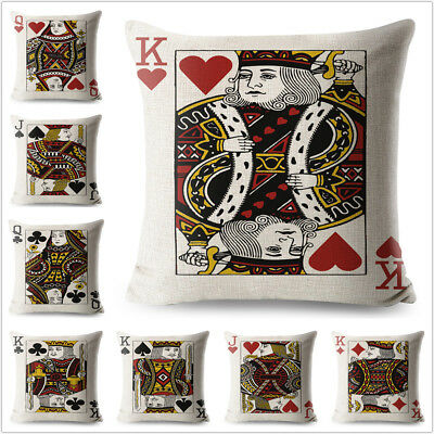 Poker King Queen and Jack Pillow Case Cartoon Decorative Printed Cushion Cover
