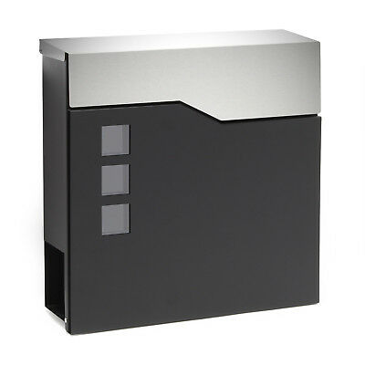 Design Mailbox V20 black silver Newspaper Compartment Wall Letterbox Postbox