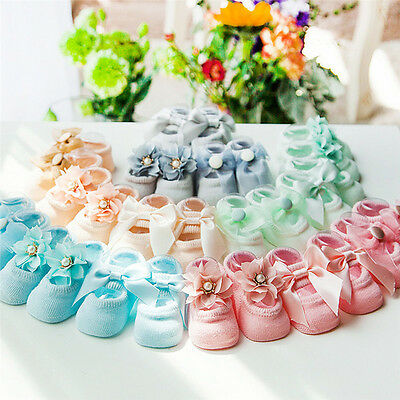 3pairs Cute Baby NewBorn Princess Lace Flowers Infant Toddler Soft Cotton Socks