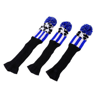 3Pcs Vintage Golf Pom Pom Wood Head Cover Knit For Driver Fairway Wood Blue