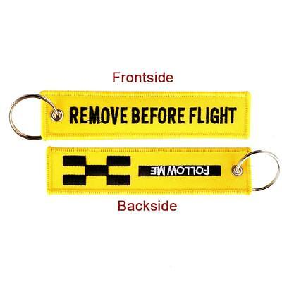 FOLLOW ME REMOVE BEFORE FLIGHT Keychain Keyring Embroidery Luggage Key-Chain New