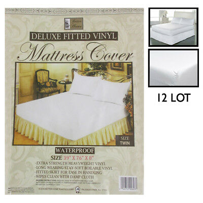 12 Lot Twin Size Bed Mattress Cover Plastic Waterproof Fitted Protector Dust Bug