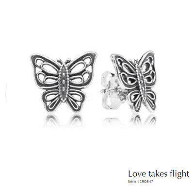 PANDORA Earrings Sterling Silver ALE S925 VINTAGE BUTTERFLIES 290547
