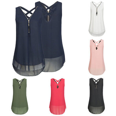 Femmes Hauts chemises V-neck Chiffon Zipper Shirts Cross Back Tank Top Blouse FP