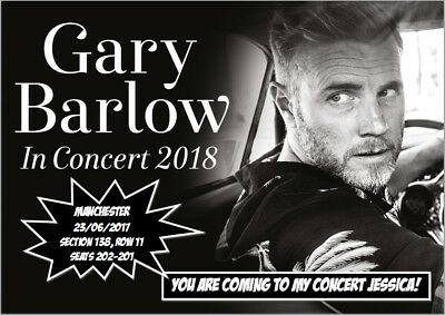 Gary Barlow Tour Concert Tickets Seats Present Christmas Birthday Card A5 3 29 Picclick Uk