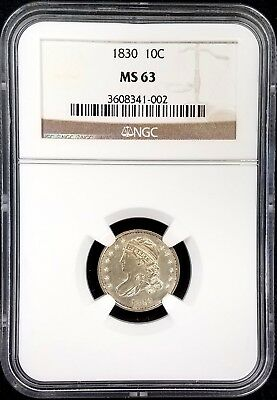 1830 Capped Bust Dime certified MS 63 by NGC! Sharp details!