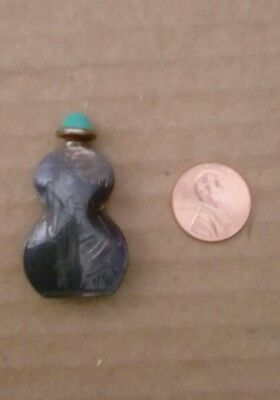 Mexican Sterling Silver Perfume Bottle With A Turquoise Cover Etched Design