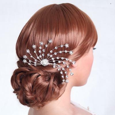 Shiny Rhinestone Hair Comb Headpiece Wedding Bridal Hair Accessories Silver