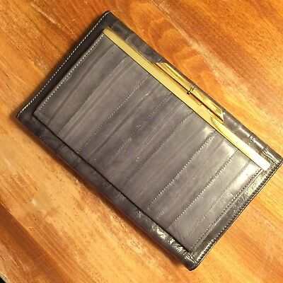 Vintage Eel Skin Womens Wallet With Coin Purse Gray Retro Kiss Clasp Closure