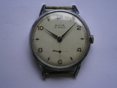 Vintage gents wristwatch AVIA mechanical watch working AS 1002 swiss made