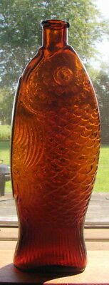 "BEAUTIFUL RARE ANTIQUE Dr FISCH'S BITTERS FISH FIGURAL AMBER 11 1/2"" BOTTLE"