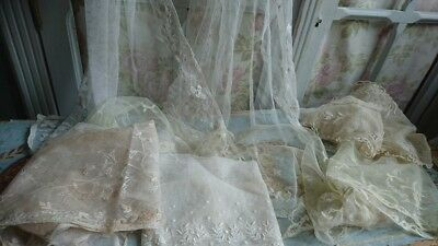 BEAUTIFUL BATCH ANTIQUE FRENCH FINE TULLE LACE FOR PROJECTS c1900 TEA COLOURED