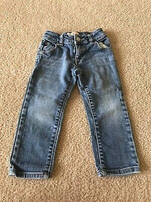 Old Navy Girl's Medium Blue Adjustable Waist Straight Leg Denim Jeans, Size 3T