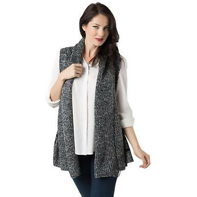 2e5e00180 Look Womens Black Heathered Open Front Shirt Sweater Vest Top O/S BHFO 3551