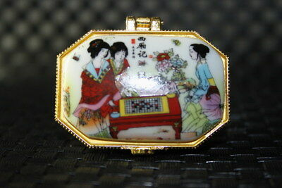 China Exquisite Decoration Handwork Porcelain Paint Three Beauty Girl Noble Box