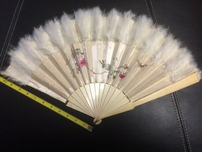 Vintage Antique Feathered Hand Fan Frame Cream Colored