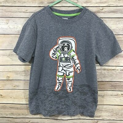 Gymboree Boys Shirt Top Size 7 Gray Monkey Astronaut Chimp Space Applique