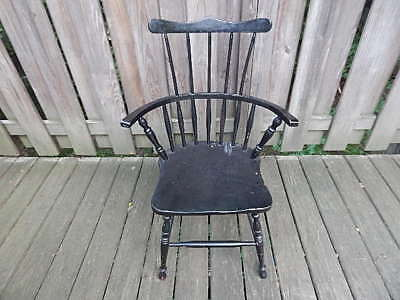 Vintage High Back Black Windsor Chair Fair Condition W Crack Local Pick Up Only